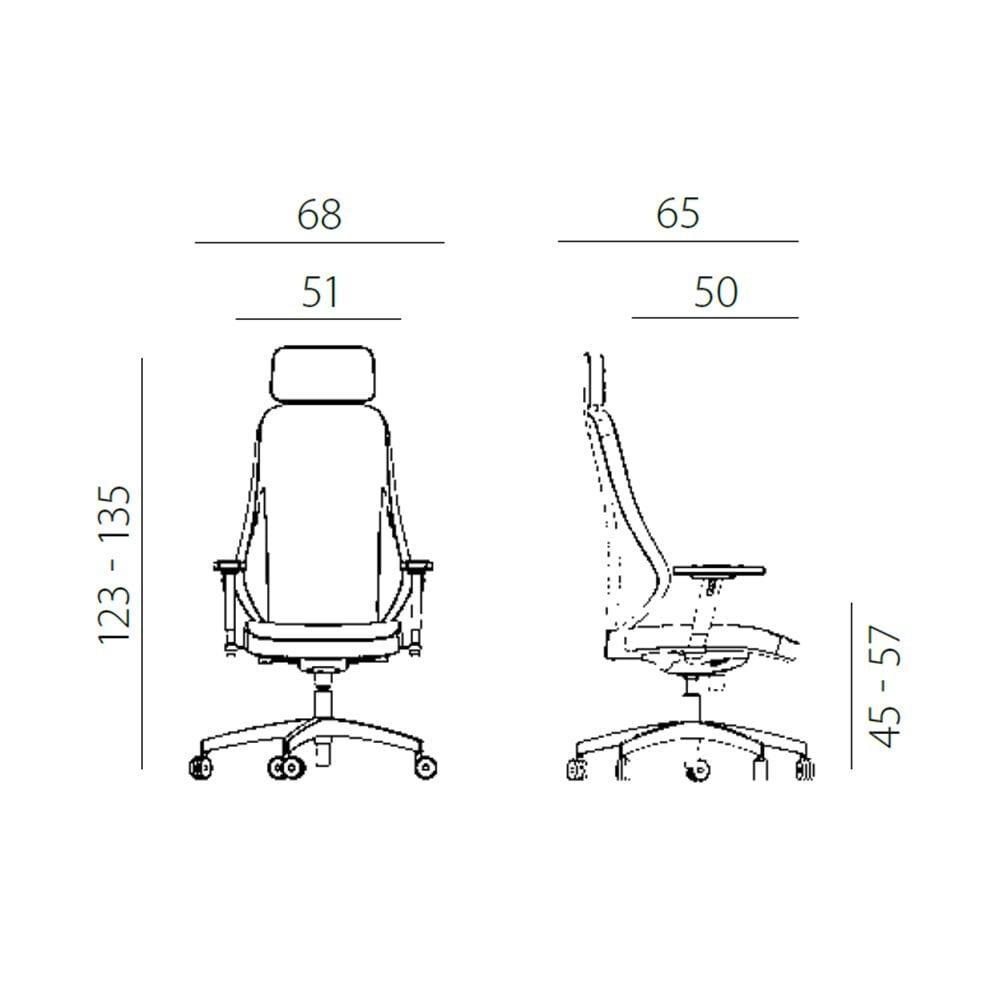 Uredska menadžerska stolica nella mjere